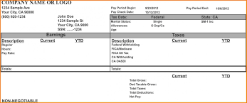 Check Stubs Template Payroll Template Statement Template