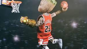 baby groot playing basketball wallpaper