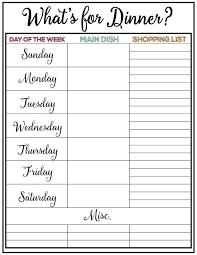 Weekly Meal Plan Printable Week 9 Meal Planning