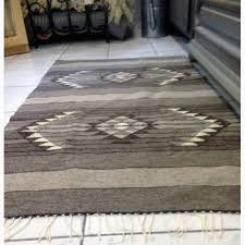 ethno rug handwoven wool rug of natural undyed wool handmade rug traditional design