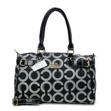 Coach Legacy In Signature Large Black Satchels BOV
