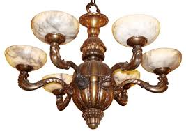 early 20th century bronze chandelier with 6 alabaster shades