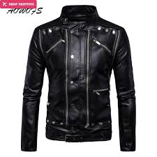 2018 aowofs luxury leather jackets men multi zippers rivets punk leather motorcycle jackets mandarin collar 2017 fashion clothing 5xl from seein