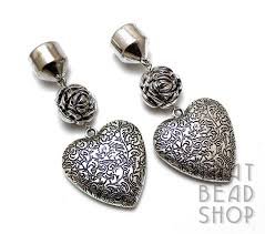 antique silver fl heart scarf ends