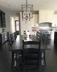 Dining Room Kitchen Design Black And White Modern Farmhouse Kitchen With Long Dining Table
