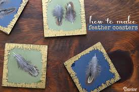 feather diy coaster ideas project supplies