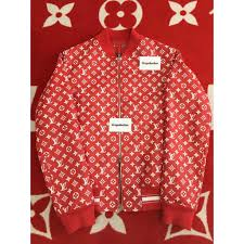 100 authentic supreme x louis vuitton leather blouson monogram jacket 1a3f