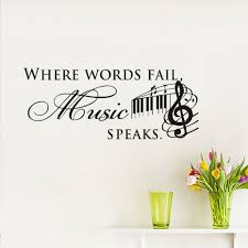 music notes in words us 5 96 32 off diy where words fail music speaks wall stickers vinyl decoration decal quotes art bedroom home decor musical notes mural in wall