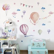 1 set cute cartoon wall decal hot air