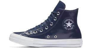 converse chuck taylor all star crinkled patent leather high top women s shoe in blue lyst