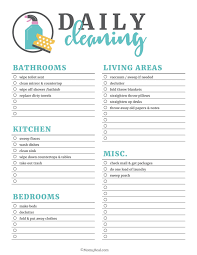 cleaning checklist free printable cleaning checklists bloggers best home tips and