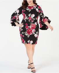 Plus Size Bell Sleeve Sheath Dress