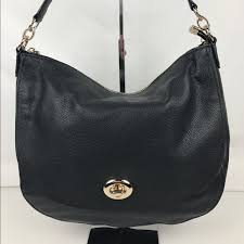 Coach Turnlock Hobo in Black Pebble Leather