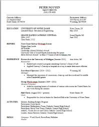 Sample Resume For College Freshmen