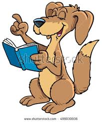 vector ilration of cartoon dog reading a book
