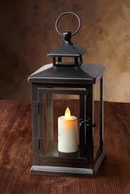 luminara lantern led outdoor candle black metal w glass panes inches square x tall remote ready