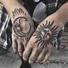 Tattoos Sun Moon Tattoo Tattoos Hand And Charming Couple Meaning