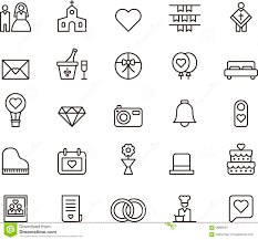 Wedding And Love Outline Icons Stock Vector Illustration Of