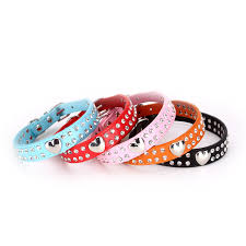 2 rows rhinestone bling heart studded leather dog collar for small or medium pet collar petween your best choice for your lovely puppy