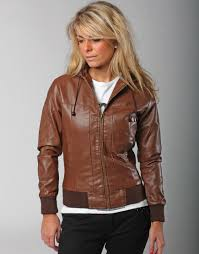 faux hooded leather jacket