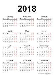 calendar 2018 printable one page calendar and times