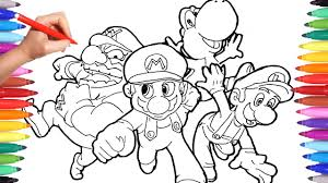 Coloring Pages Mario Super Mario Coloring Pages For Kids How To Draw Super Mario Luigi And Yoshi Learning Video