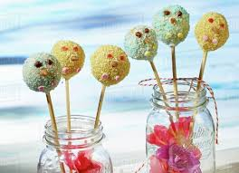 Crispy Cake Pops For A Childs Party Stock Photo Dissolve