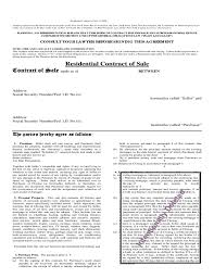 Residential Contract Of Sale Free Download