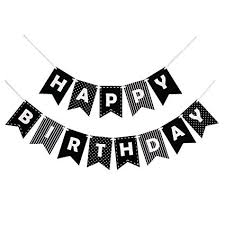 Black Happy Birthday Decomod Happy Birthday Banner Bunting Laser Cut Felt 60 Inches Wide Black White