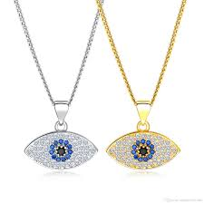 whole gold silver blue evil eye necklace for women good luck crystal pendant chain necklaces pendants women fashion jewelry kx676 679 star pendant