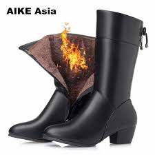 women s black leather short boots wedge zipper mid calf winter women s shoes botas de mujer bottes y patent boots snow over the knee boots cowgirl boots