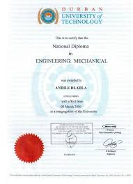 Diploma in mechanical engineering (plant option). Mechanical Engineering National Diploma