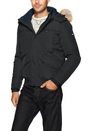tommy hilfiger men s technical er jacket with faux fur hood