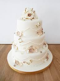 Wedding Cake With Gold Butterflies Flowers The Cakery Leamington Spa