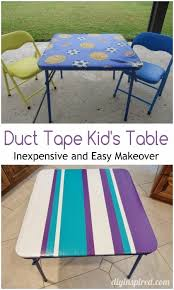 Duct tape furniture Cardboard Duct Tape Kids Table Makeover Diy Inspired Upcycled Duct Tape Play Table Diy Inspired