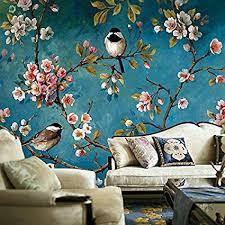 HUANGYAHUI Wandbilder Handgemalten Blauen Yulan Blumen Und Vögel,  Schlafzimmer, Hintergrund Wand Tapeten, Chinesischen