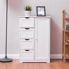 white bathroom cabinets. Interesting Cabinets Costway Wooden 4 Drawer Bathroom Cabinet Storage Cupboard 2 Shelves Free  Standing White In Cabinets C