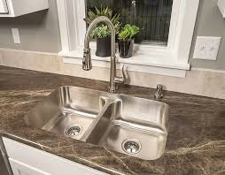 wunderbar best kitchen faucets for granite countertops double basin stainless steel sink arched faucet grey