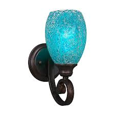 cascadia lighting curl 5 in w 1 light bronze art glass arm wall sconce