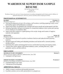 Sample Resume For Warehouse Manager