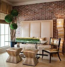 exquisite contemporary dining room dazzles with custom banquette decor and a pinch of greenery