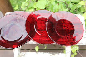 4 royal ruby red glass dessert plates red glass salad plates vintage anchor hocking red small plates mcm anchor hocking baltic plates