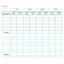 Free Printable Eating Log By Food Categories Meal Template