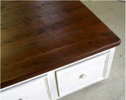 Square Reclaimed Wood Coffee Table With Drawers