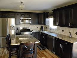 Kitchen Black Cupboards Dark Wood Espresso With Flooring Cabinets