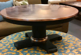 coffee table copper rectangular topund crate and round copper top