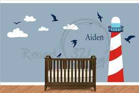 Nautical Themed Bedroom Nautical Theme Lighthouse Vinyl Wall Decal Infant And Childrens