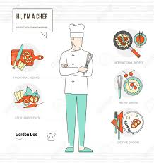 professional chef infographic resume and skill and thin line professional chef infographic resume and skill and thin line male character stock vector 44552919