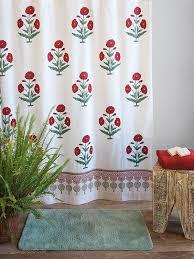 vintage shower curtain. White Shower Curtain, Red Green Floral Vintage Curtain | Saffron Marigold N