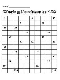 Missing Numbers To 120 Worksheets Teaching Resources Tpt